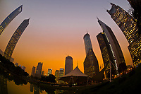 The skyline of the Lujiazui Financial District in the Pudong section of Shanghai, China