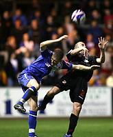 Photo: Paul Greenwood/Sportsbeat Images.<br />Carlisle United v Swindon Town. Coca Cola League 1. 04/12/2007.<br />Carlisle's Joe Garner, (L) and Swindon's Jack Smith compete for the ball