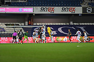 Brentford Goalkeeper David Raya Martin(1) heads the ball during the EFL Sky Bet Championship match between Queens Park Rangers and Brentford at the Kiyan Prince Foundation Stadium, London, England on 17 February 2021.