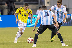 September 11, 2018 - East Rutherford, NJ, U.S. - EAST RUTHERFORD, NJ - SEPTEMBER 11: Colombia midfielder Juan Quintero (20) dribbles the ball during the second half of the International Friendly Soccer match between Argentina and Colombia on September 11, 2018 at MetLife Stadium in East Rutherford, NJ. (Photo by John Jones/Icon Sportswire) (Credit Image: © John Jones/Icon SMI via ZUMA Press)