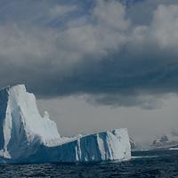 An iceberg floats in the southern Atlantic Ocean near South Georgia, Antarctica.