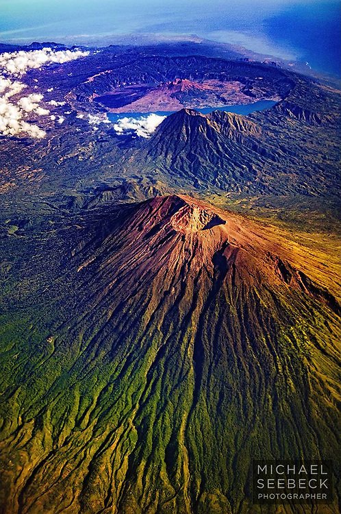 Aerial photograph of large dormant volcanoes on the island of Java.<br /> <br /> Open Edition Print / Stock Image