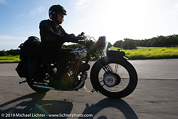 Todd Cameron riding his 1930 BSA Sloper in memory of his Grandfather, JD John Cameron, a motorcycle racer, restorer and founding member of the Boozefighters MC, to a first place win in the Cross Country Chase motorcycle endurance run from Sault Sainte Marie, MI to Key West, FL. (for vintage bikes from 1930-1948). Stage-9 covered 259 miles from Lakeland, FL to Miami, FL USA. Saturday, September 14, 2019. Photography ©2019 Michael Lichter.
