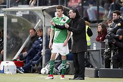 (L-R) Lucas Schoofs of NAC Breda, coach Stijn Vreven of NAC Breda during the Dutch Eredivisie match between sbv Excelsior Rotterdam and NAC Breda at Van Donge & De Roo stadium on February 11, 2018 in Rotterdam, The Netherlands