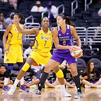 24 July 2014: Los Angeles Sparks forward/center Sandrine Gruda (7) defends on Phoenix Mercury forward Mistie Bass (8) during the Phoenix Mercury 93-73 victory over the Los Angeles Sparks, at the Staples Center, Los Angeles, California, USA.
