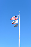 Flag Pole with POW MIA, US Flag and California State Flag