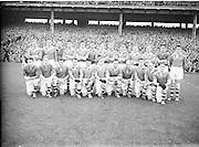 All Ireland Senior Football Final Replay. Meath v Cavan..The Cavan Team..Winners - Cavan 0.9 - 0.5..12.10.1952, 10.12.1952, 12th October 1952.. Morris, J. McCabe, P. Brady, D. Maguire, P. Carolan, L. Maguire, B. O'Reilly, V. Sherlock, T. Hardy, S. Hetherton, M. Higgins (Captain), E. Carolan, J. J. Cassidy, A. Tighe, J. Cusack. Note: P. Fitzsimons played in drawn game. J. Cusack came on for replay. P. Fitzsimmons was introduced as Sub for J. J. Cassidy in replay.