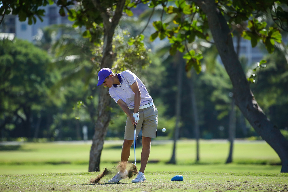 Carson Young of Clemson tees off on number seventeen during the second round of the 3rd annual Kaanapali Classic collegiate invitational. Kaanapali Royal Course Lahaina, Hawaii November 5th, 2016/ Photo by Aric Becker