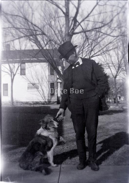 adult man with dog USA 1930s