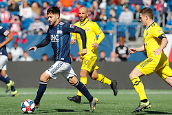 March 9, 2019 - Foxborough, MA, U.S. - FOXBOROUGH, MA - MARCH 09: New England Revolution forward Carles Gil (22) chased by Columbus Crew midfielder Wil Trapp (6) during a match between the New England Revolution and Columbus Crew SC on March 9, 2019, at Gillette Stadium in Foxborough, Massachusetts. (Photo by Fred Kfoury III/Icon Sportswire) (Credit Image: © Fred Kfoury Iii/Icon SMI via ZUMA Press)
