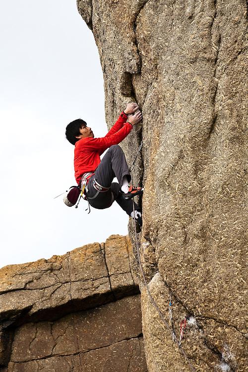 "Toru Nakajima climbing 'Let The River Live"" E6 6b at Sennen, Cornwall, England"