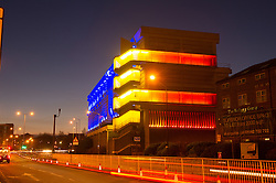 Moore Street Electricity Substation illuminated at night, Sheffield