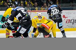 06.01.2019, Ice Rink, Znojmo, CZE, EBEL, HC Orli Znojmo vs Vienna Capitals, 36. Runde, im Bild v.l. Kelsey Tessier (Vienna Capitals) Mikko Vainonen (HC Orli Znojmo) Jean Philippe Lamoureux (Vienna Capitals) Matthew Clark (Vienna Capitals) Patrik Novak (HC Orli Znojmo) // during the Erste Bank Eishockey League 36th round match between HC Orli Znojmo and Vienna Capitals at the Ice Rink in Znojmo, Czechia on 2019/01/06. EXPA Pictures © 2019, PhotoCredit: EXPA/ Rostislav Pfeffer