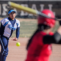 032515       Cable Hoover<br /> <br /> Window Rock Scout Hannah Smiley (2) pitches to the St. Michael Cardinals Wednesday at Window Rock High School.
