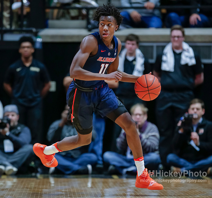 WEST LAFAYETTE, IN - FEBRUARY 27: Ayo Dosunmu #11 of the Illinois Fighting Illini brings the ball up court during the game against the Purdue Boilermakers at Mackey Arena on February 27, 2019 in West Lafayette, Indiana. (Photo by Michael Hickey/Getty Images) *** Local Caption *** Ayo Dosunmu