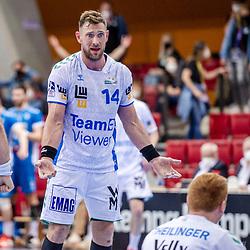 Jacob Bagersted (FRISCH AUF! Goeppingen #14) ; LIQUI MOLY HBL 20/21  1. Handball-Bundesliga: TVB Stuttgart - FRISCH AUF! Goeppingen am 24.04.2021 in Stuttgart (SCHARRena), Baden-Wuerttemberg, Deutschland,<br /> <br /> Foto © PIX-Sportfotos *** Foto ist honorarpflichtig! *** Auf Anfrage in hoeherer Qualitaet/Aufloesung. Belegexemplar erbeten. Veroeffentlichung ausschliesslich fuer journalistisch-publizistische Zwecke. For editorial use only.