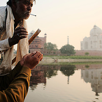 The boatman at Yamuna river, that takes his passengers close from the Taj Mahal wall