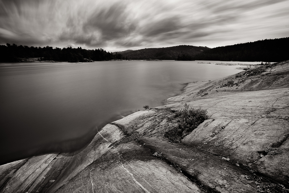 A 191-second exposure of McGregor Bay, Ontario -- with rocks smoothly sculpted by the glaciers