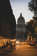 Evening falls on the Capitolio, or the National Capitol Building, in the center of Cuba's capital of Havana. (December 3, 2014)