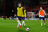 Harvey Barnes of England U21's warming up before the U21 International match between England and Germany at the Vitality Stadium, Bournemouth, England on 26 March 2019.