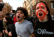 Anti-war protest in New York City, Saturday, March 22, 2003, that attracted thousands of demonstrators from around the country. The protest started at 42nd street and Broadway and finished at Washington Square park where there were clashes between New York City Police and demonstrators. Photographer: Emile Wamsteker