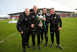 WREXHAM, WALES - Monday, May 2, 2016: The New Saints' manager Craig Harrison celebrate with the trophy and staff Steve Evans and Carl Darlington after the 2-0 victory over Airbus UK Broughton during the 129th Welsh Cup Final at the Racecourse Ground. (Pic by David Rawcliffe/Propaganda)