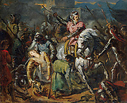 The Death of Gaston de Foix in the Battle of Ravenna on 11 April 1512 (oil on canvas) State Hermitage Museum c. 1824 by Ary Scheffer. The Battle of Ravenna, fought on April 11, 1512, by forces of the Holy League and France, was a major battle of the War of the League of Cambrai in the Italian Wars. It was an overwhelming victory for the French