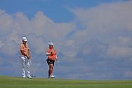 15 AUG 30 Haru Nomura and Cheistina Kim during Sundays delayed Third Round of The Yokohama Tire LPGA Classic at The RTJ Golf Trail in Prattville, Alabama.(photo credit : kenneth e. dennis/kendennisphoto.com)