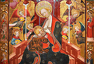 Gothic Altarpiece of the Madonna Nursing or Madonna Lactans, by Ramon de Mur, active around Tarrega and Montblanc circa 1412-1435, tempera and gold leaf on for wood, from the parish church of Santa Maria de Cervera (Segarra),  National Museum of Catalan Art, Barcelona, Spain, inv no: MNAC  15818. .<br /> <br /> If you prefer you can also buy from our ALAMY PHOTO LIBRARY  Collection visit : https://www.alamy.com/portfolio/paul-williams-funkystock/gothic-art-antiquities.html  Type -     MANAC    - into the LOWER SEARCH WITHIN GALLERY box. Refine search by adding background colour, place, museum etc<br /> <br /> Visit our MEDIEVAL GOTHIC ART PHOTO COLLECTIONS for more   photos  to download or buy as prints https://funkystock.photoshelter.com/gallery-collection/Medieval-Gothic-Art-Antiquities-Historic-Sites-Pictures-Images-of/C0000gZ8POl_DCqE
