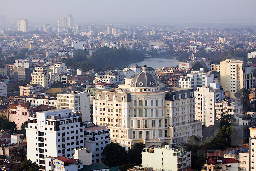 Facade of the Hanoi Department of Finance seen from above, Vietnam, Southeast Asia