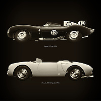For the lover of old classic cars, this combination of a Jaguar D Type 1956 and Porsche 550-A Spyder 1956 is truly a beautiful work to have in your home.<br /> The classic Jaguar D Type and the beautiful Porsche 550-A Spyder are among the most beautiful cars ever built.<br /> You can have this work printed in various materials and without loss of quality in all formats.<br /> For the oldtimer enthusiast, the series by the artist Jan Keteleer is a dream come true. The artist has made a fine selection of the very finest cars which he has meticulously painted down to the smallest detail. – –<br /> -<br /> <br /> BUY THIS PRINT AT<br /> <br /> FINE ART AMERICA<br /> ENGLISH<br /> https://janke.pixels.com/featured/jaguar-d-type-1956-and-porsche-550-a-spyder-1956-jan-keteleer.html<br /> <br /> WADM / OH MY PRINTS<br /> DUTCH / FRENCH / GERMAN<br /> https://www.werkaandemuur.nl/nl/shopwerk/Jaguar-D-Type-1956-en-Porsche-550-A-Spyder-1956/756069/132?mediumId=1&size=60x60<br /> –