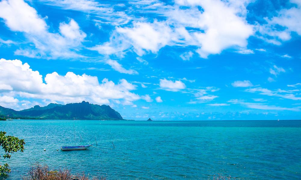 China Mans Hat Boat looking toward china mans hat Oahu ocean view