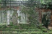 Sandstone and laterite blind window in Beng Mealea Temple, built in the early 12th century. Siem Reap, Cambodia, 2003