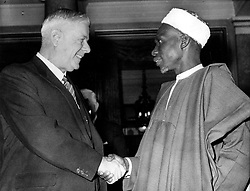 Mar. 8, 1961 - London, England, U.K. - At Commonwealth Conference HENDRIK VERWOERD announced South Africa's exit from Commonwealth of Nations. He is often called 'Architect of Apartheid' for his role in shaping the apartheid regime's racial ideology and policies when he was Minister of Native Affairs during the early 1950s. PICTURED: Verwoerd shaking hands with Nigerian Prime Minister Sir ABUBAKAR TAFAWA BALEWA at conference. (Credit Image: © Keystone Press Agency/Keystone USA via ZUMAPRESS.com)