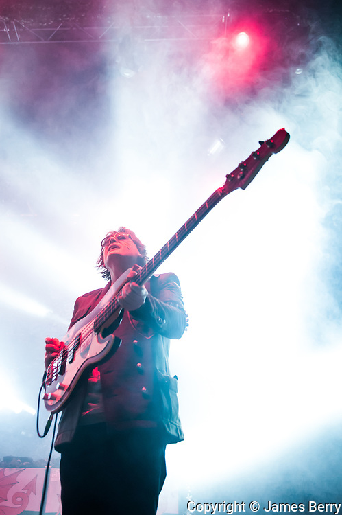 Manic Street Preachers perform their seminal 1994 album The Holy Bible in full live at The Roundhouse, London on Tuesday 16 December 2014. Picture shows Nicky Wire.