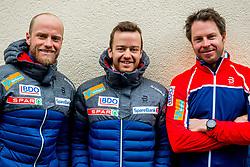 February 22, 2019 - Seefeld In Tirol, AUSTRIA - 190222 Martin Johnsrud Sundby, Sjur RÂ¿the and Eirik Myhr Nossum, coach of Norway, at a press event during the FIS Nordic World Ski Championships on February 22, 2019 in Seefeld in Tirol..Photo: Vegard Wivestad GrÂ¿tt / BILDBYRN / kod VG / 170287 (Credit Image: © Vegard Wivestad Gr¯Tt/Bildbyran via ZUMA Press)