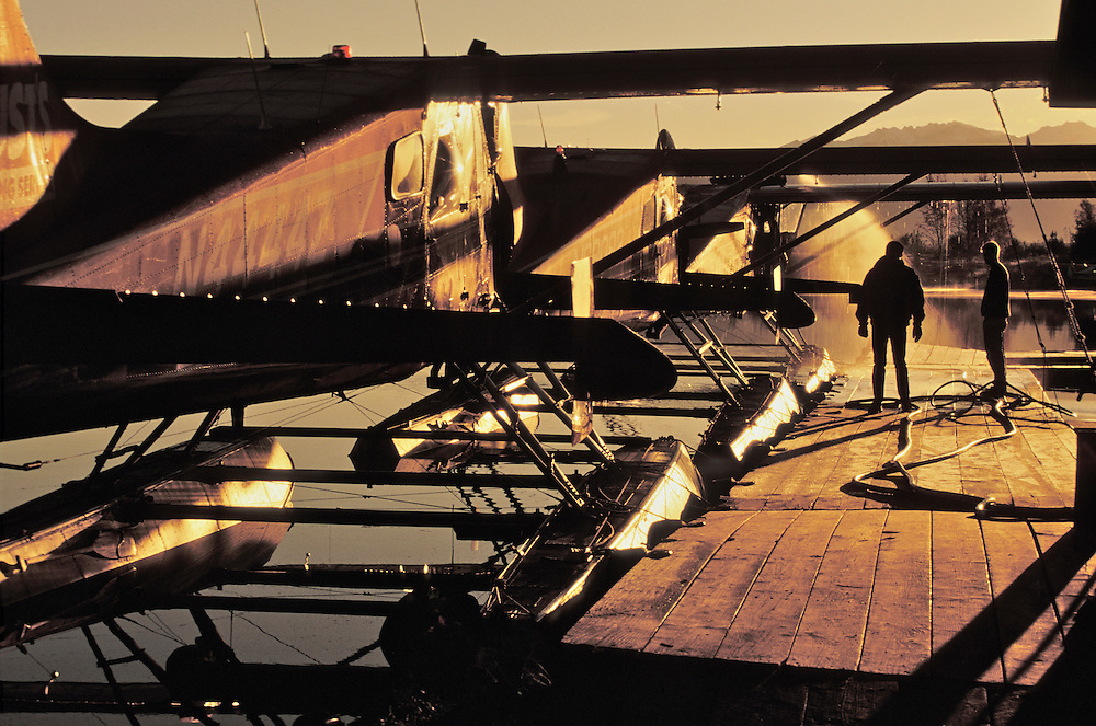 Rust's Flying Service deicing in early morning, Anchorage, Alaska