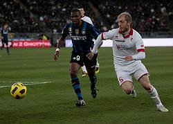 Bari (BA), 03-02-2011 ITALY - Italian Soccer Championship Day 23 - Bari VS Inter..Pictured: Masiello (B) Eto'o (I)..Photo by Giovanni Marino/OTNPhotos . Obligatory Credit