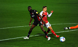 Emmanuel Onariase of Scunthorpe United competes with George Lloyd of Cheltenham Town- Mandatory by-line: Nizaam Jones/JMP - 20/10/2020 - FOOTBALL - Jonny-Rocks Stadium - Cheltenham, England - Cheltenham Town v Scunthorpe United - Sky Bet League Two