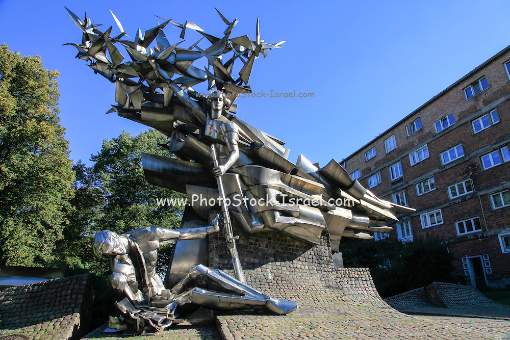 Gdansk, Poland Monument to the Defenders of the Polish Post Office, Modern art commemorating one of the first military actions of World War II