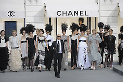 Karl Lagerfeld on the catwalk during the Chanel house Spring-Summer 2009 Ready-to-Wear collection show in Paris, France on October 3, 2008. Photo by Medhi Taamallah/ABACAPRESS.COM