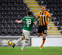 Hull City's Josh Magennis is fouled by Lincoln City's Conor McGrandles<br /> <br /> Photographer Chris Vaughan/CameraSport<br /> <br /> The EFL Sky Bet League One - Hull City v Lincoln City - Tuesday 9th February 2021 - KCOM Stadium - Kingston upon Hull<br /> <br /> World Copyright © 2021 CameraSport. All rights reserved. 43 Linden Ave. Countesthorpe. Leicester. England. LE8 5PG - Tel: +44 (0) 116 277 4147 - admin@camerasport.com - www.camerasport.com