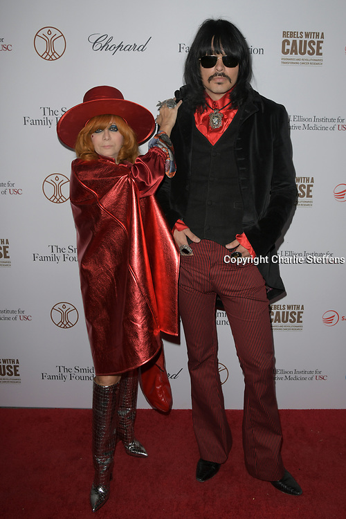 LINDA RAMONE and JD KING attend the 'Rebels With A Cause'  benefitting the Lawrence J. Ellison Institute for Transformative Medicine of USC at The Water Garden in Santa Monica, California.