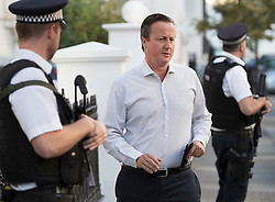 © Licensed to London News Pictures. 14/09/2016. London, UK. Former Prime Minister David Cameron leaves home.  Mr Cameron has been criticised in a new Parliamentary report into Britain's involvement in Libya and the overthrow of Libyan leader Muammar Gaddafi in 2011. The foreign affairs committee accused Mr Cameron of lacking a coherent strategy for the air campaign.Photo credit: Peter Macdiarmid/LNP