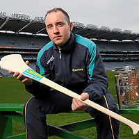 30 March 2012; Centra's GAA Hurling Ambassador for 2012, Eoin Kelly, Tipperary, today launched Centra's programme of activity for the GAA All-Ireland Senior Hurling Championship. Centra who are celebrating the third year of sponsorship are spreading the hurling message throughout 15 communities around Ireland with its Centra Brighten Up Your Day Community events that will run from Saturday 21st April to Saturday 28th July. The family friendly free events will feature the top senior hurlers in Ireland and will take place in Dublin, Cork, Kilkenny, Galway, Offaly, Cavan, Donegal, Wexford, Kildare, Clare, Limerick, Waterford, Tipperary and Kerry. All events are free; registration will take place in Centra stores throughout the country or by email to centragaa@centra.ie or Freetext CENTRA followed by the county of the event you would like to attend and your name to 50050. For more information log onto www.centra.ie or www.facebook.com/centraireland. Croke Park, Dublin. Picture credit: Paul Mohan / SPORTSFILE *** NO REPRODUCTION FEE ***