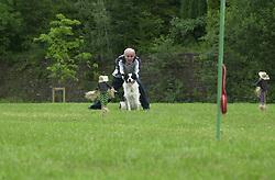 Eddie Sander with his Dogs Jackson and Inka<br /><br />18 June 2004<br /><br />Copyright Paul David Drabble<br /> [#Beginning of Shooting Data Section]<br />Nikon D1 <br /> Focal Length: 116mm<br /> Optimize Image: <br /> Color Mode: <br /> Noise Reduction: <br /> 2004/06/18 09:22:37.5<br /> Exposure Mode: Manual<br /> White Balance: Auto<br /> Tone Comp: Normal<br /> JPEG (8-bit) Fine<br /> Metering Mode: Center-Weighted<br /> AF Mode: AF-S<br /> Hue Adjustment: <br /> Image Size:  2000 x 1312<br /> 1/200 sec - F/8<br /> Flash Sync Mode: Not Attached<br /> Saturation: <br /> Color<br /> Exposure Comp.: 0 EV<br /> Sharpening: Normal<br /> Lens: 80-200mm F/2.8<br /> Sensitivity: ISO 200<br /> Image Comment: <br /> [#End of Shooting Data Section]