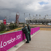 G4S security personal patrolling around Olympic Park in Stratford, the main venue for the 2012 London Olympic Games. Olympic Park, Stratford, UK. 13th July 2012. Photo Tim Clayton