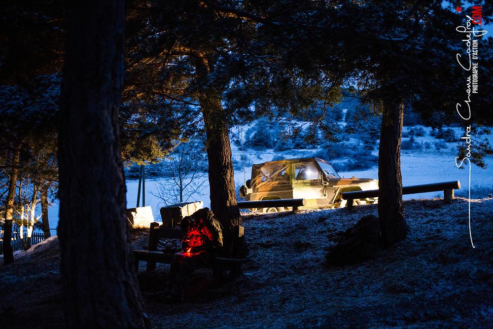 Tests de sélection GCM (Groupe Commando Montagne) organisés par les chasseurs alpins du 4eRCh. Epreuves physiques et sportives, tir, descente en rappel et marches nocturnes.  <br /> Février 2017 / Gap (05) / FRANCE