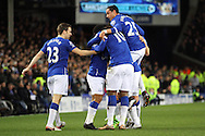 Aaron Lennon of Everton (hidden) celebrates with his teammates after scoring his teams 1st goal. Barclays Premier League match, Everton v Newcastle United at Goodison Park in Liverpool on Wednesday 3rd February 2016.<br /> pic by Chris Stading, Andrew Orchard sports photography.
