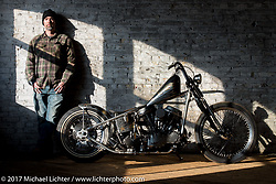 Ben Jordan with his custom Harley-Davidson Panhead Basura Blanca on setup day for the Mama Tried Bike Show. Milwaukee, WI, USA. Friday, February 17, 2017. Photography ©2017 Michael Lichter.